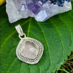 Sterling Silver Rose Quartz Pendant